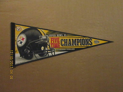 NFL Pittsburgh Steelers Vintage FIVE TIME CHAMPIONS Super Bowl XL Pennant