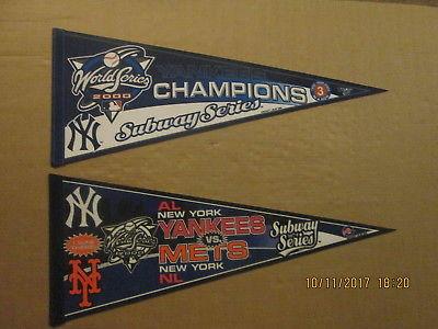 MLB New York Yankees Vintage Lot of 2 Circa 2000 Subway Series Logo Pennants