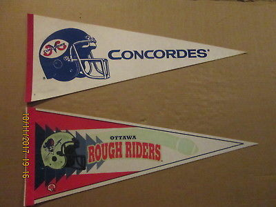 CFL Ottawa Rough Riders & Montreal Concordes Vintage Defunct Lot of 2 Pennants