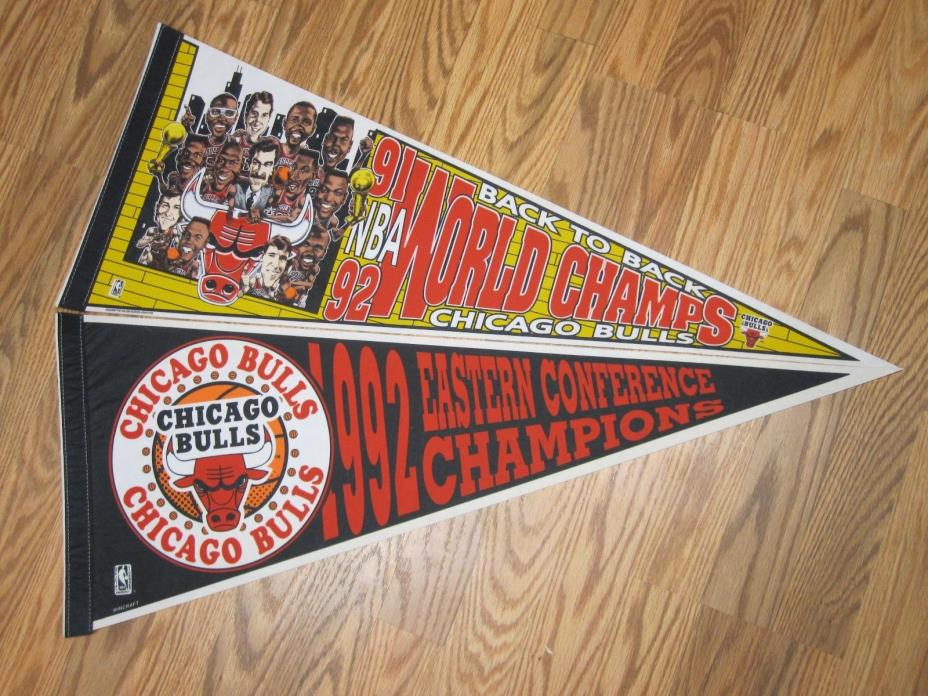 LOT of 2 CHICAGO BULLS 1991/92 BACK TO BACK WORLD CHAMPS PENNANT 12