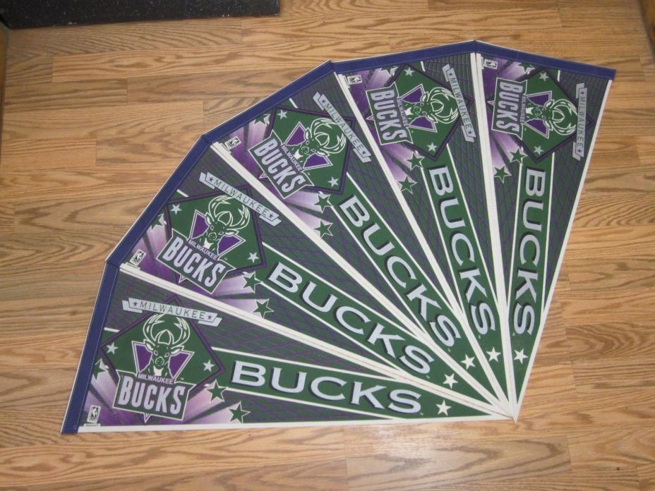 VINTAGE MILWAUKEE BUCKS NBA BASKETBALL PENNANT LOT of 5* FULL SIZE SHIPPED FLAT