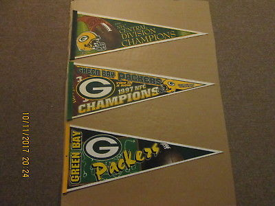 NFL Green Bay Packers 1996 1997 Champions & a Circa 1996 Logo Football Pennants