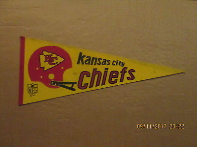 NFL Kansas City Chiefs Vintage Circa 1967 2 Bar Helmet Logo Football Pennant