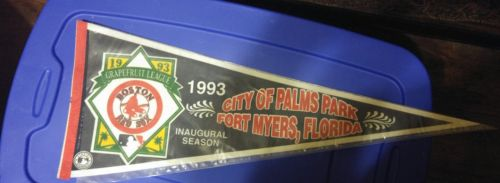 Boston Red Sox Fenway Park Ball Field Blue Red Stripe Pennant 1990's in Cover
