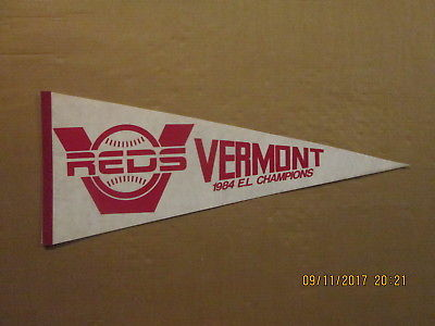 Vermont Reds Vintage Circa 1984 E.L CHAMPIONS Logo Baseball Pennant