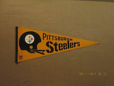 NFL Pittsburgh Steelers Vintage Circa 1970's 2 Bar Helmet Logo Football Pennant