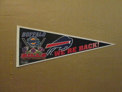 NFL Buffalo Bills Vintage 1993 AFC CHAMPIONS WE'RE BACK! Logo Football Pennant