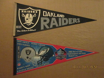 NFL Oakland Raiders Vintage The Silver & Black & 2006 Hall Of Fame Pennants