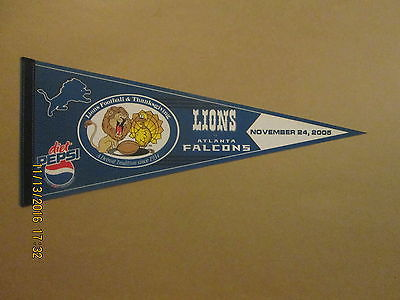 NFL Lions vs Falcons Vintage 2005 Thanksgiving Day Football Pennant