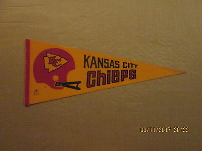 NFL Kansas City Chiefs Vintage Circa 1970's 2 Bar Helmet Logo Football Pennant