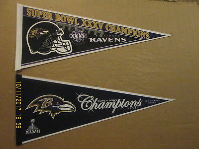 NFL Baltimore Ravens Vintage Super Bowl XXXV & XLVII Champions Football Pennants