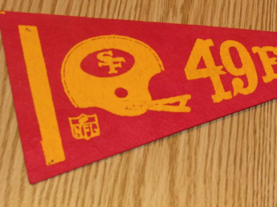 Vintage NFL San Francisco 49ERS 1970's Mini Pennant, 4x9 Inches, Nice!! Stiff!!