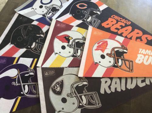 1980s NFL Pennant Lot Raiders Colts Vikings Bears Bucs Cards Falcons