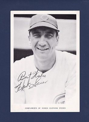 Hank Sauer Chicago Cubs 1951 regional Hirsch Clothing Stores photo - rare!!!