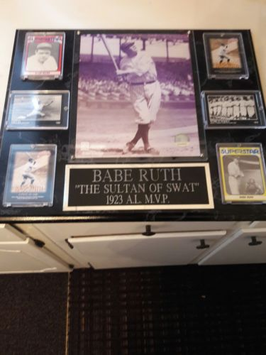 New York Yankees Legend Babe Ruth baseball cards and photo mounted frame picture