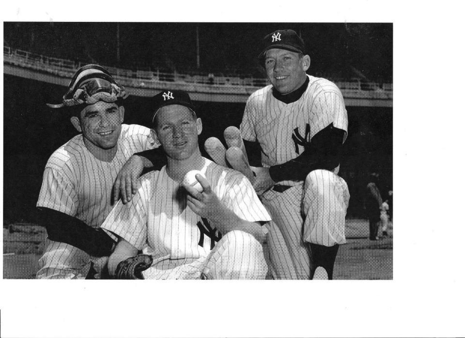 BERRA - FORD - MANTLE - *1961 STADIUM PHOTO* -- YANKEE LEADERS HISTORIC PHOTO