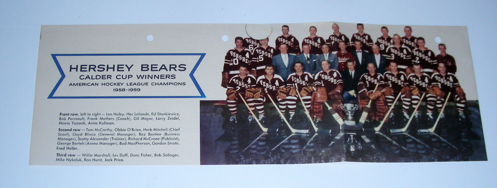1958-59 HERSHEY BEARS Calder Cup winners American Hockey league champions