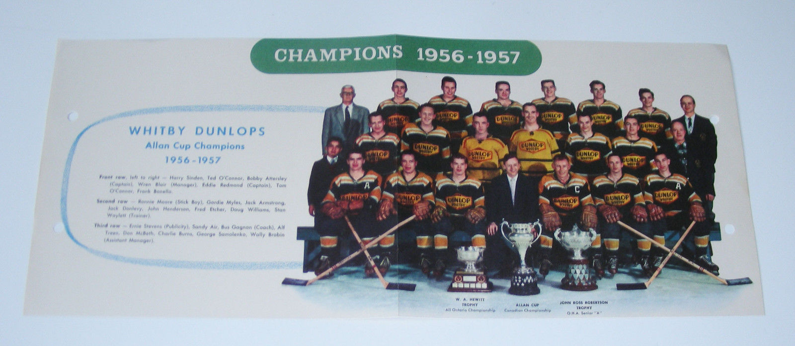 1956-57 Whitby Dunlops Allan Cup CHAMPIONS Hockey Team Picture Vtg color