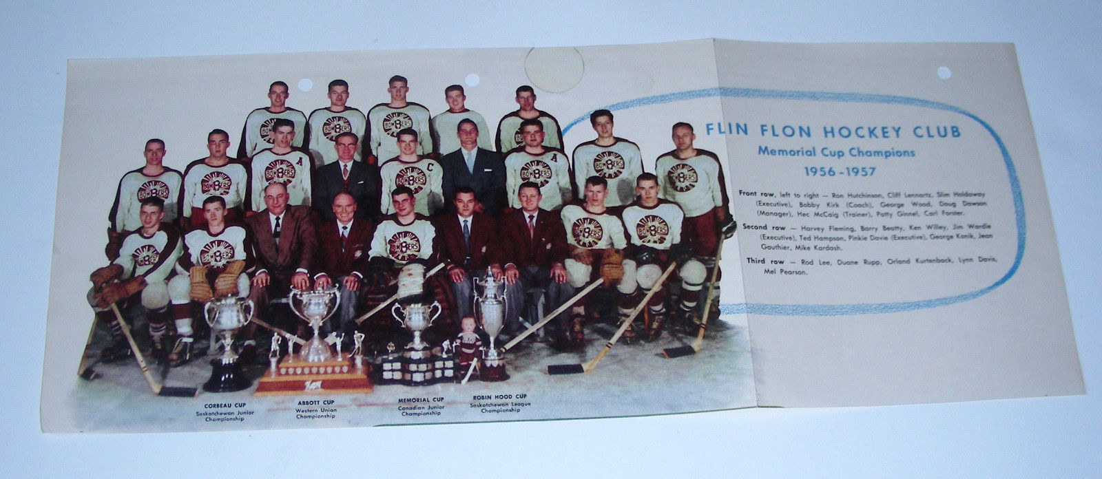 1956-57 FLIN FLON Hockey Club MEMORIAL Cup CHAMPIONS  Team Picture Vtg color
