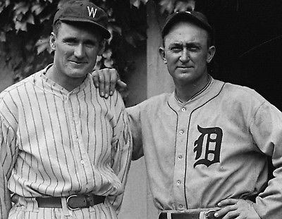 TY COBB AND WALTER JOHNSON TIGERS SENATORS 8x10 PHOTO
