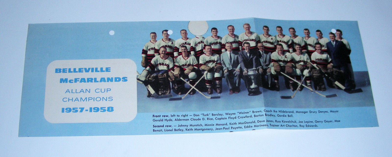 1957-58 BELLEVILLE McFARLANDS Allan Cup CHAMPIONS Hockey Team Picture Vtg color