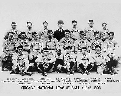 1906 CHICAGO CUBS TEAM TINKER TO EVERS TO CHANCE AND MORE EARLY GREATS 8X10