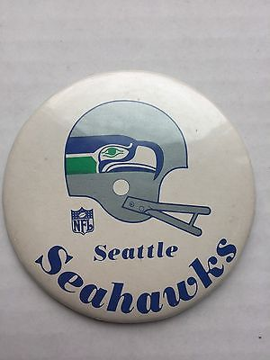 Vintage Seattle Seahawks Pinback Button Pin - 3 3/8