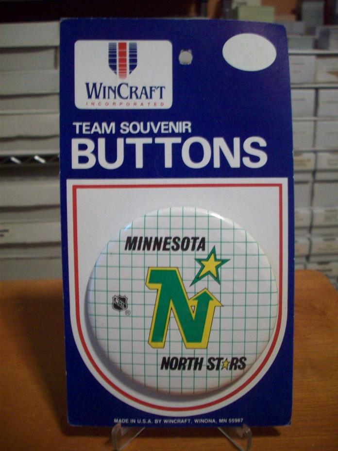MINNESOTA NORTH STARS Vintage Wincraft Pin Back 1 1/4 Inch Button NOS L@@K!!!!!