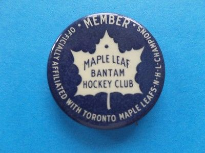 VINTAGE 1940s TORONTO MAPLE LEAFS Bantam Hockey Club BUTTON Pin PINBACK NHL RARE