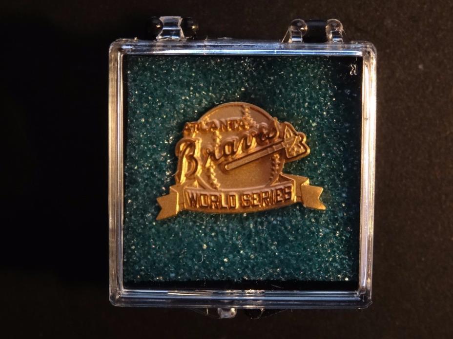 1991 ATLANTA BRAVES WORLD SERIES PRESS PIN NEW IN ORIGINAL BOX