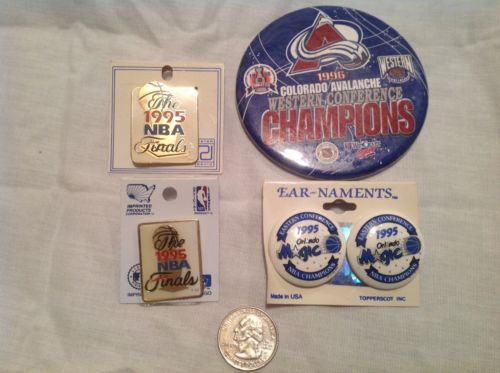 2 ea NBA Finals lapel pins, 1995 NBA Champ Orlando