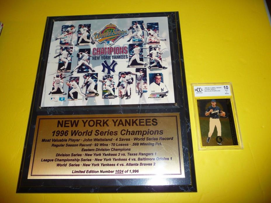 New York Yankees Baseball 1996 World Series Champion Plaque W/ AROD Rookie Card!