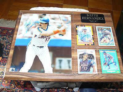 Keith Hernandez Wood Wall Plaque with 4 Signed Autographed Cards and 1 Photo