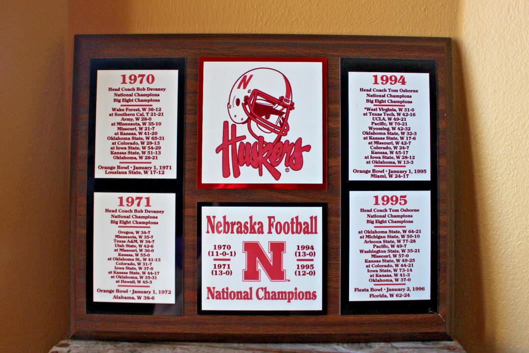 Huskers Nebraska Football National Champions Bob Devaney Tom Osborne plaque