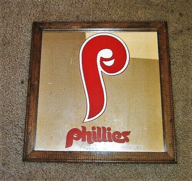 PHILADELPHIA PHILLIES HANGING WALL MIRROR FRAMED  PLAQUE