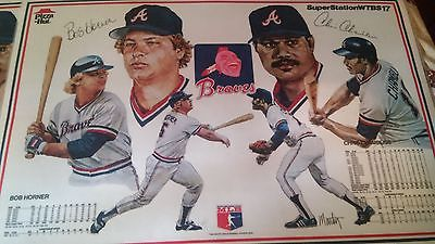 4 Coated 1984 Atlanta Braves Baseball Placemat Chris Chambliss & Bob Horner