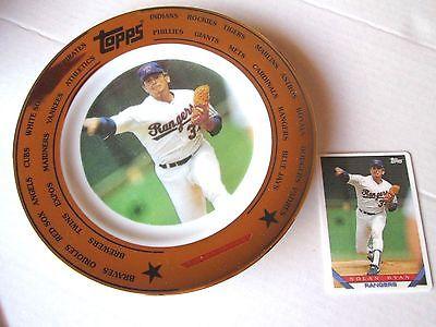 VTG 1993 Nolan Ryan Topps Collector Plate #4279 Gold Trim + Porcelain card +box