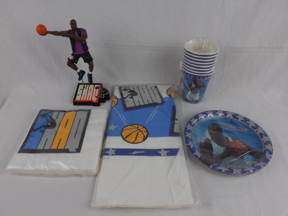 Shaquille O'Neal Birthday Party Pack Plate Cup Napkin Table Cloth Action Figure