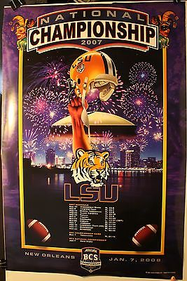 2007 LSU Louisiana State Univ. National Champions 24 x 36 Poster NCAA Football