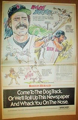Boston Red Sox Wade Boggs 1991 Boston Herald Poster