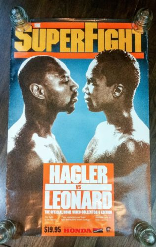 1987 Marvin Hagler vs Sugar Ray Leonard Super Fight Promo Poster Vintage Boxing