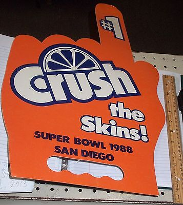 Denver Bronco Super Bowl 1988 Orange Crush San Diego Skins Finger #1 HAND Poster