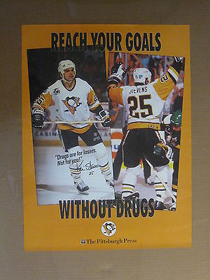 Vintage 1980's-90's Pittsburgh Press Kevin Stevens Penguins Poster 24 x 18 NICE