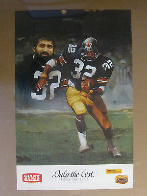 Vintage 1980's-90's Franco Harris Pittsburgh Steelers Poster Giant Eagle Kodak