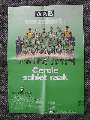 Vintage 1977/78 Cercle Brugge KSV Football Team Poster 15 x 21 NICE