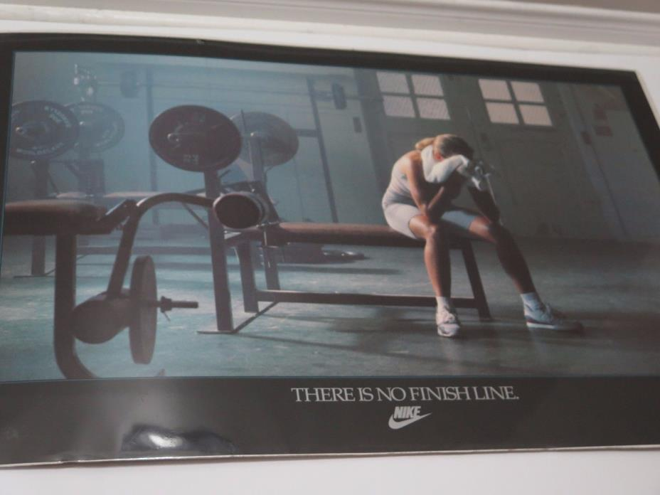 NIKE Vintage Gym Poster THERE IS NO FINISH LINE Weight Training Fitness Women