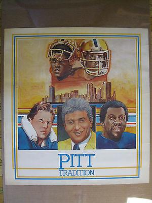 Vintage 1980's Pitt Panthers Tradition Poster w/Dan Marino & Tony Dorsett NICE