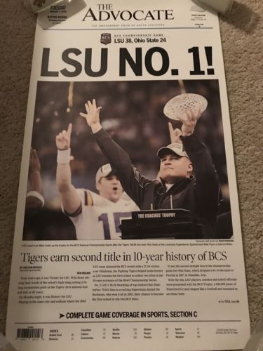 LSU Tigers 2008 Baton Rouge Advocate 2007 BCS Champs Poster Champs