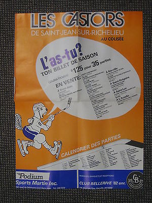 Vintage 1982-83 Saint-Jean Castors QMJHL Hockey Schedule Poster 16 x 21 NICE