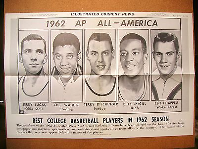 1962 ICN Display Poster 12x19 AP All Americans Jerry Lucas Chet Walker Dischinge